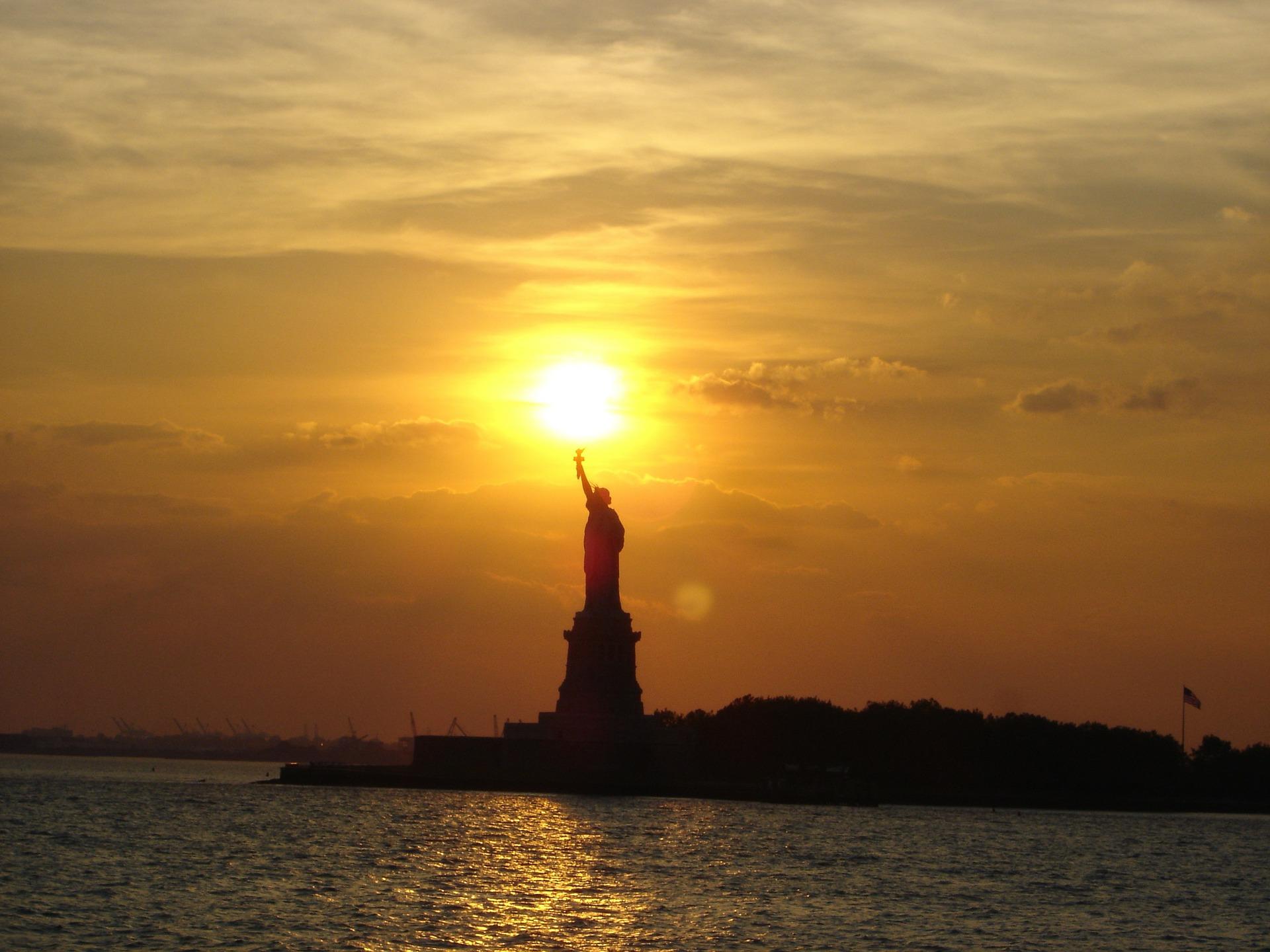 Statue of liberty, new york city, sunset