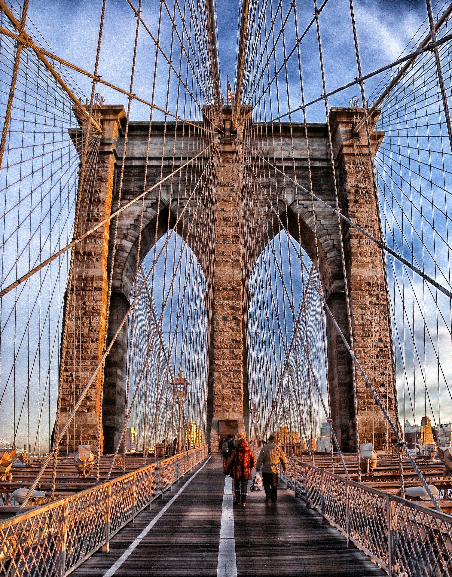 Brooklyn bridge, suspension bridge, landmark