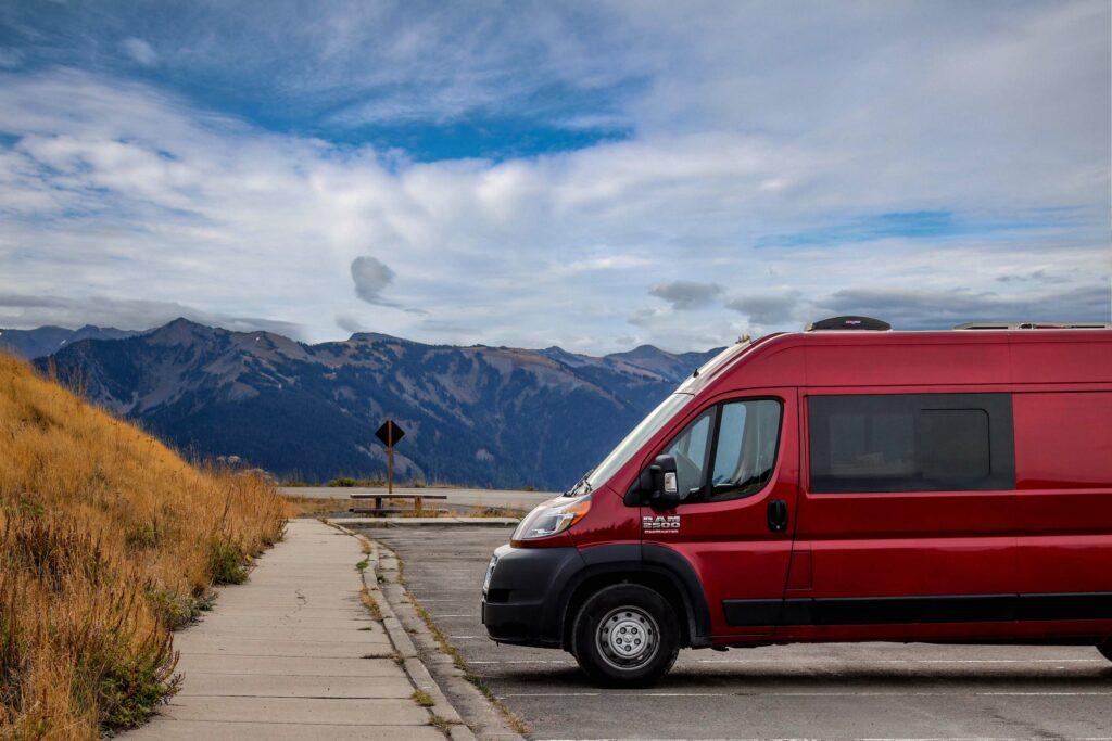 red-camper-van